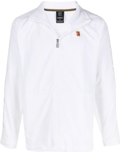 embroidered logo track jacket - White