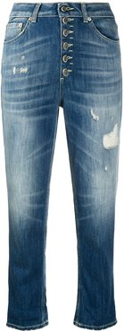 stonewashed cropped jeans - Blue