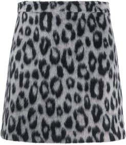 leopard print mini skirt - Black