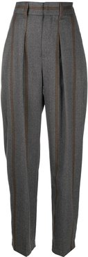 striped tapered trousers - Grey