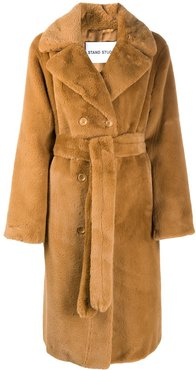 double-breasted teddy coat - Brown