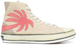 palm-patch high-top sneakers - Neutrals