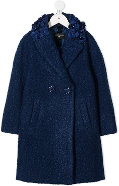 floral embroidered double-breasted coat - Blue