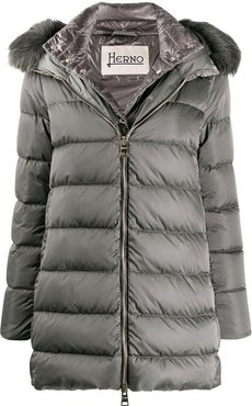 feather down padded jacket with faux fur trimmed hood - Grey
