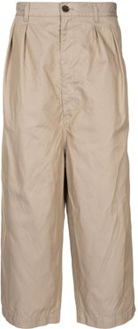 wide-leg cropped trousers - Brown