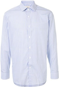 checked button-up shirt - White