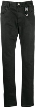 buckle detail slim-fit trousers - Black