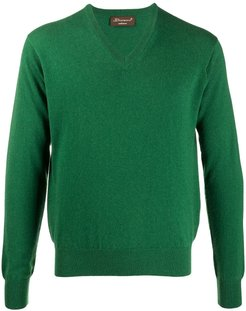 V-neck ribbed knit jumper - Green