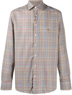 checked button-up shirt - Brown