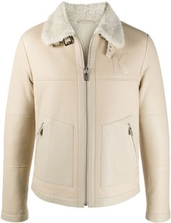 shearling trim leather jacket - Neutrals