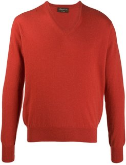V-neck cashmere jumper - ORANGE