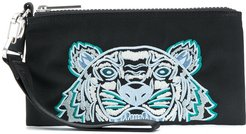 embroidered Tiger motif pouch - Black