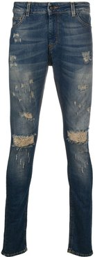 distressed ripped jeans - Blue
