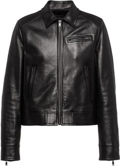 classic leather jacket - Black