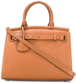 logo top-handle tote - Brown