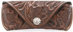 hand-tooled glasses case - Brown