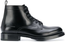 leather lace up boots - Black