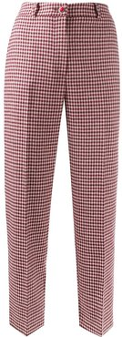 checked cropped trousers - Red