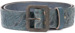 hand-tooled leather belt - Blue