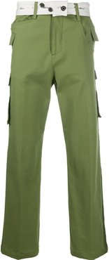 wide leg trousers with belt button detail - Green