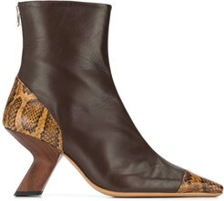 Marley snakeskin-panel ankle boots - Brown