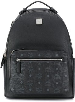 round-top structured backpack - Black