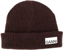 recycled wool ribbed-knit hat - Brown