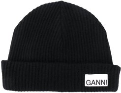 recycled wool ribbed-knit hat - Black