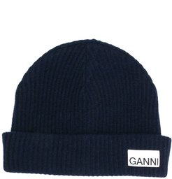 recycled wool ribbed-knit hat - Blue