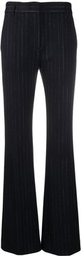 pinstripe flared trousers - Blue