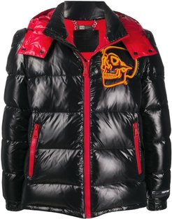 skull padded jacket - Black
