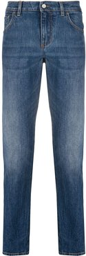 side-stripe slim-fit jeans - Blue
