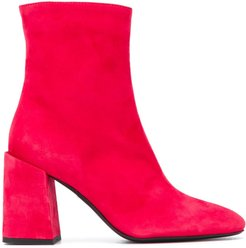 side zipped ankle boots - Red