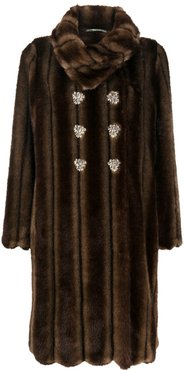 Vincent double-breasted coat - Brown