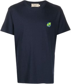 embroidered-logo cotton T-shirt - Blue