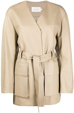 cargo patch pockets wrap jacket - Neutrals