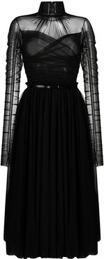 ruched design dress - Black