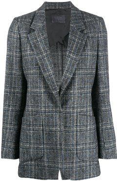 checked single-breasted blazer - Grey