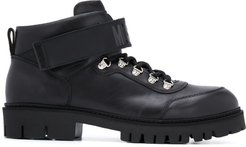 leather lace-up ankle boots - Black