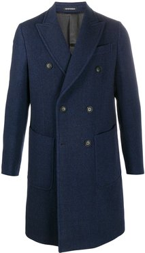 double-breasted fitted coat - Blue