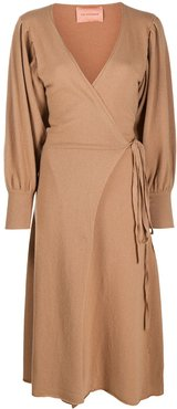 longsleeved wrap dress - Brown