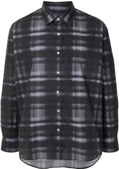 checked button-up shirt - Black