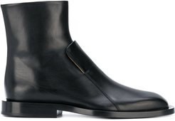 structured leather ankle boots - Black