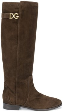 knee-length suede boots - Brown