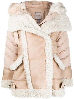 shearling padded jacket - Neutrals