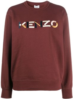 logo print cotton sweatshirt - Red