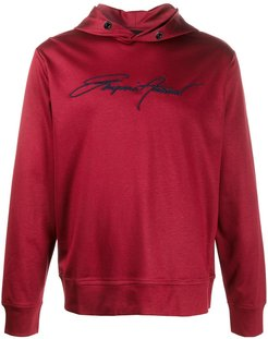 embroidered logo cotton hoodie