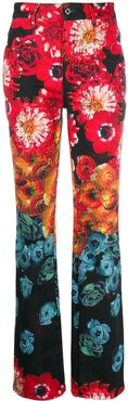 floral print high-rise bootcut jeans - Red