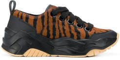 animal-print lace-up sneakers - Black