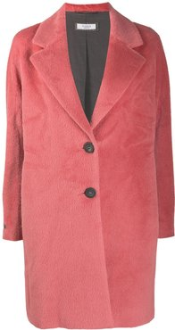 brushed single-breasted coat - PINK